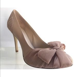 NINE WEST Women Tan Taupe Leather Bow Heels 7.5